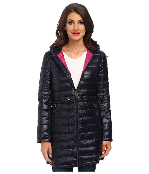 DKNY - 3/4 Hooded Packable Anorak (Midnight/Primrose) Women's Coat