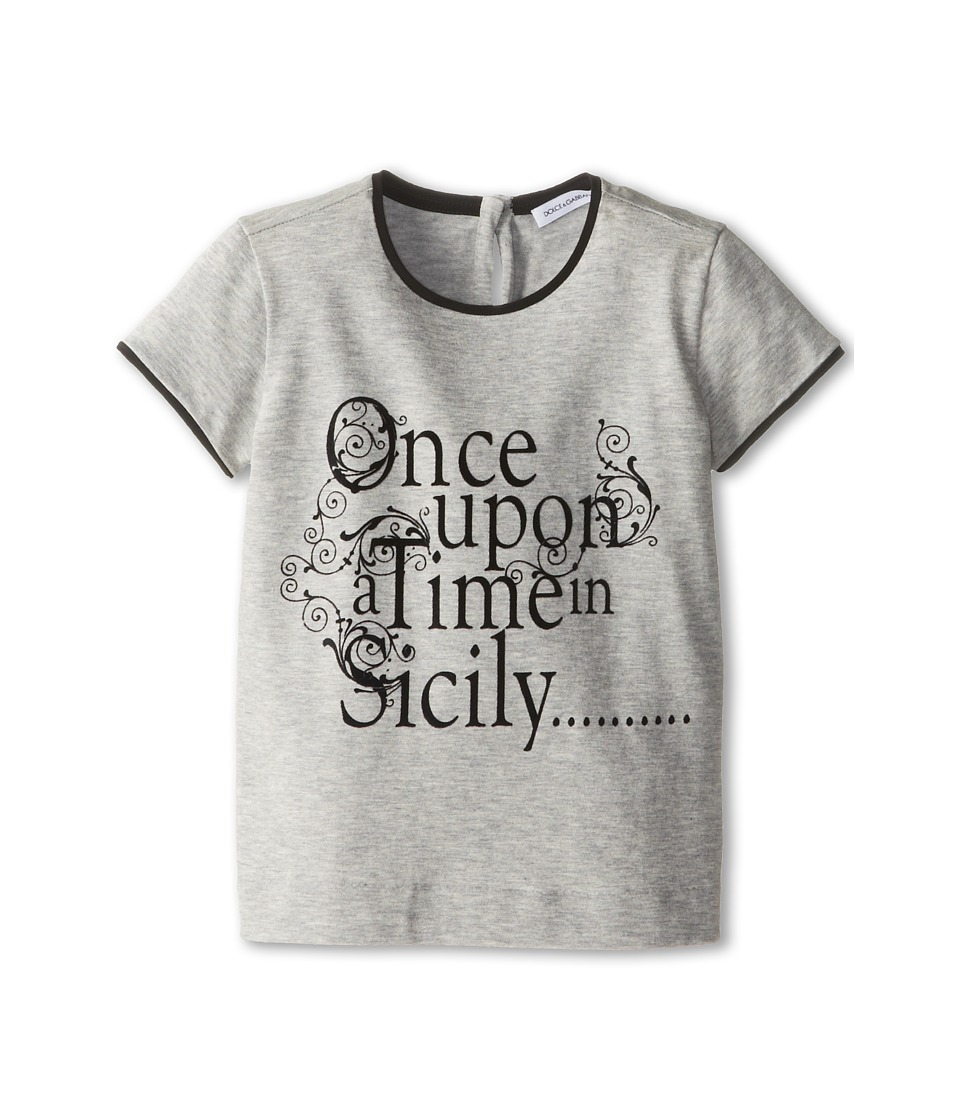 Dolce & Gabbana - Once Upon a Time Short Sleeve T-Shirt (Toddler/Little Kids) (Melange Grey) Women's T Shirt