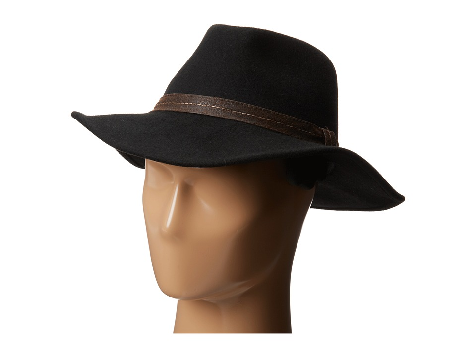 San Diego Hat Company - WFH7938 3 Brim Wool Felt Cowboy with Brown Stitched PU Band (Black) Cowboy Hats