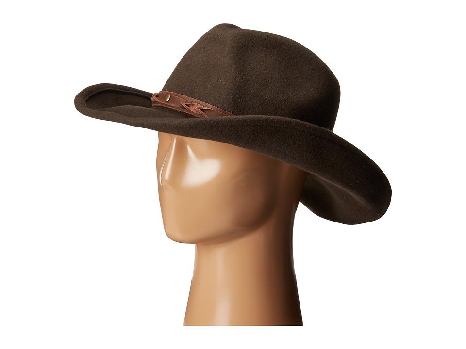San Diego Hat Company - WFH7940 3.5 Brim Wool Felt Cowboy with Grommets (Chocolate) Cowboy Hats