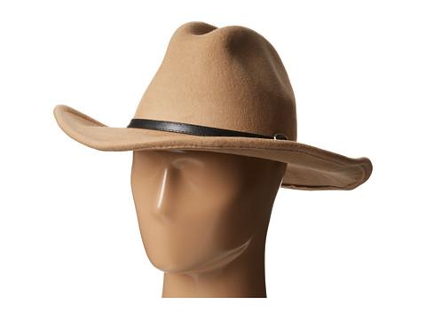 San Diego Hat Company - WFH7936 3.5 Brim Wool Felt Cowboy with PU Band Buckle (Tan) Cowboy Hats