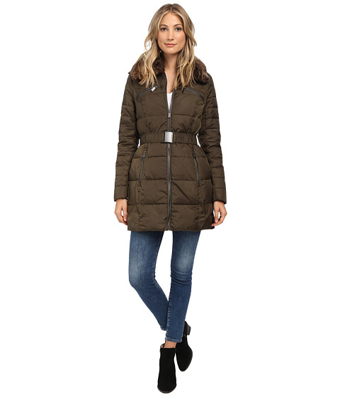 DKNY - Belted Faux Fur Hooded Down Coat (Loden) Women