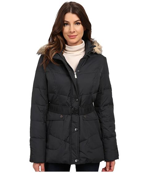 DKNY - Belted Short Chevron Quilt Coat (Grey) Women's Coat