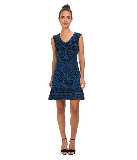 Nanette Lepore - Who Did It Dress (Cyan Multi) Women's Dress