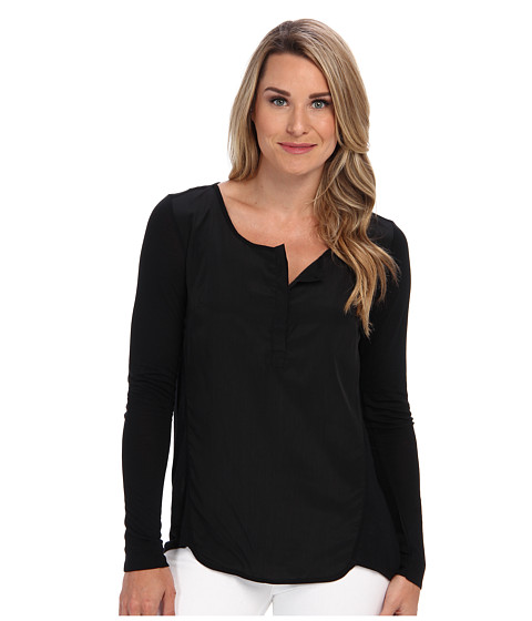 Miraclebody Jeans - Lana Placket Top w/ Body-Shaping Inner Shell (Black) Women's T Shirt
