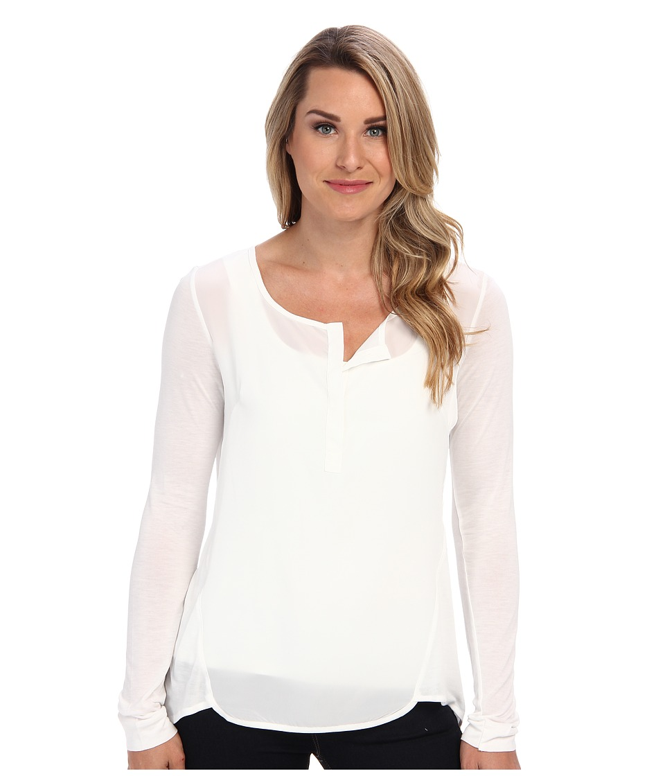 Miraclebody Jeans - Lana Placket Top w/ Body-Shaping Inner Shell (Ivory) Women's T Shirt