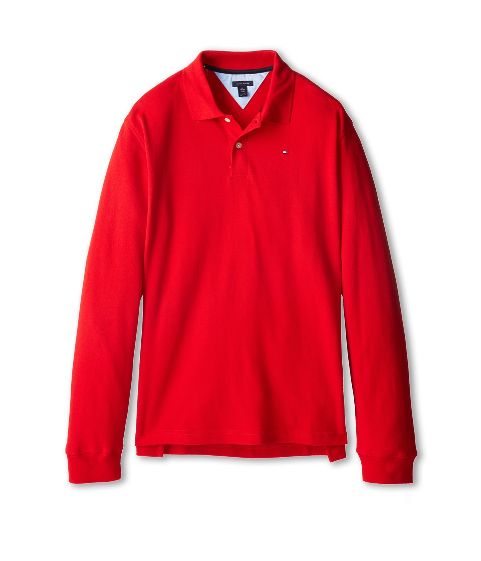 Tommy Hilfiger Kids - L/S Ivy Polo (Big Kid) (Regal Red) Boy's Long Sleeve Pullover