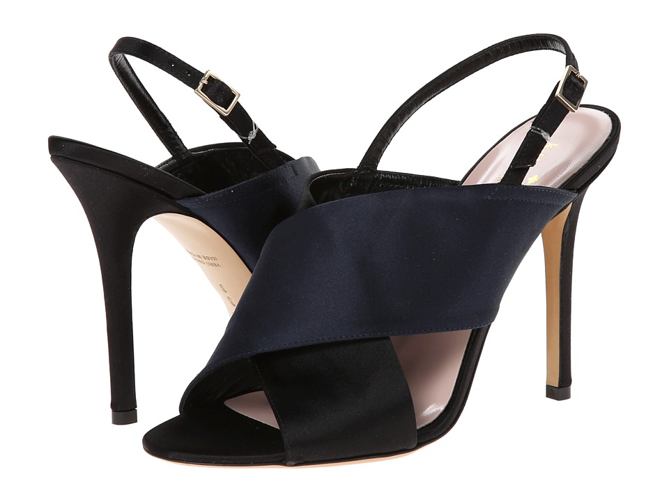 Kate Spade New York - Faloma (Navy Satin/Black Satin) High Heels