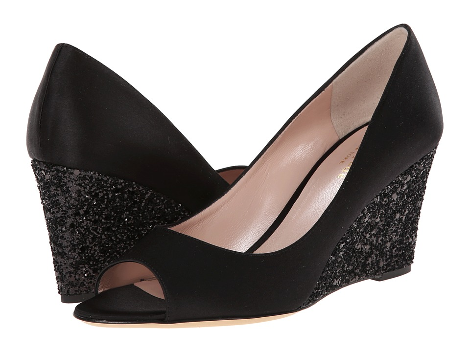 Kate Spade New York - Radiant (Black Satin/Black Glitter Heel) Women