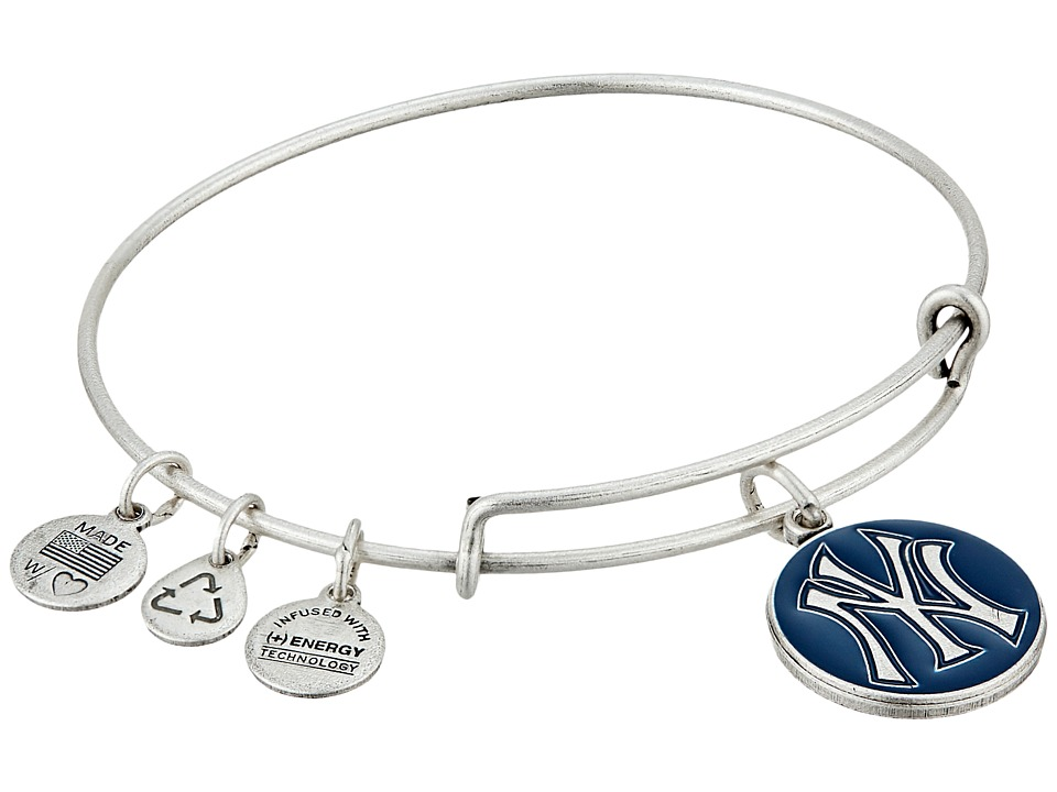 Alex and Ani - MLB New York Yankees Charm Bangle (Rafaelian Silver Finish/Navy Charm) Bracelet