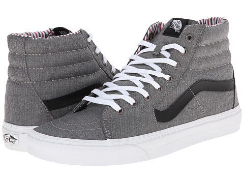 Vans - SK8-Hi ((Suiting/Stripes) Charcoal/True White) Skate Shoes