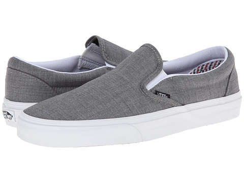 Vans - Classic Slip-On ((Suiting/Stripes) Charcoal/True White) Skate Shoes