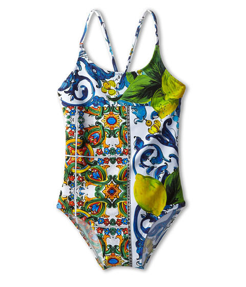 Dolce & Gabbana - Graphic Print One-Piece Swimsuit (Toddler/Little Kids/Big Kids) (Print) Women's Swimsuits One Piece