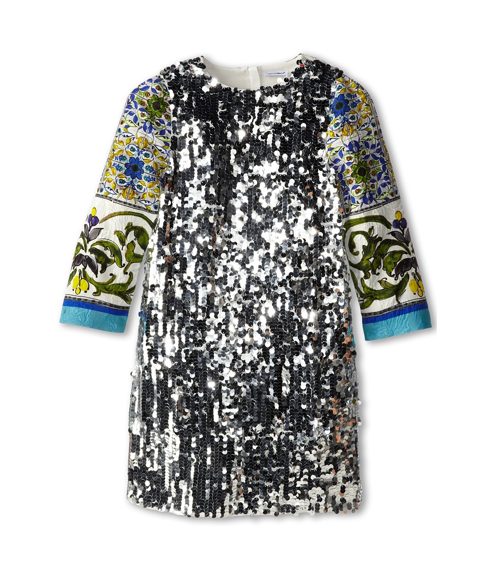 Dolce & Gabbana Kids - Graphic Print Sequin Shift Dress (Big Kids) (Silver) Girl's Dress