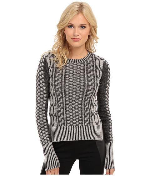BCBGeneration - L/S Round Neck Sweater Top (Black/Combo) Women