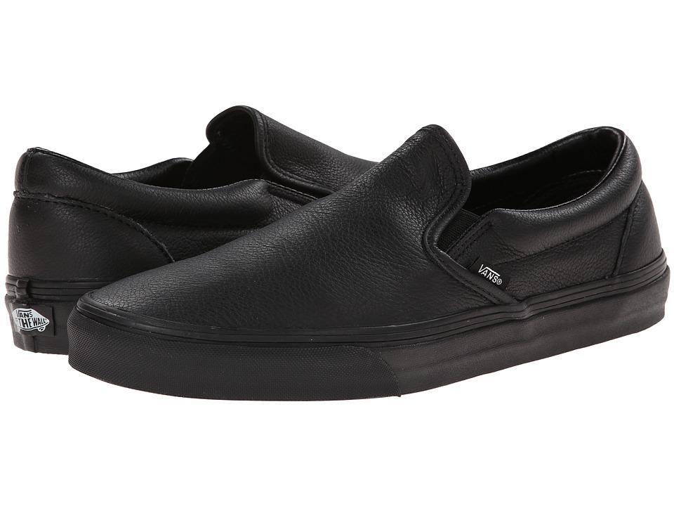 Vans - Classic Slip-On ((Premium Leather) Black/Mono) Skate Shoes