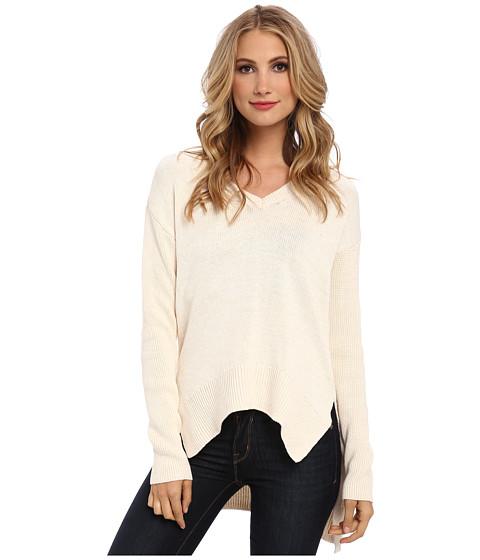BCBGeneration - Long-Sleeve V-Neck Sweater (Whisper White Combo) Women's Sweater