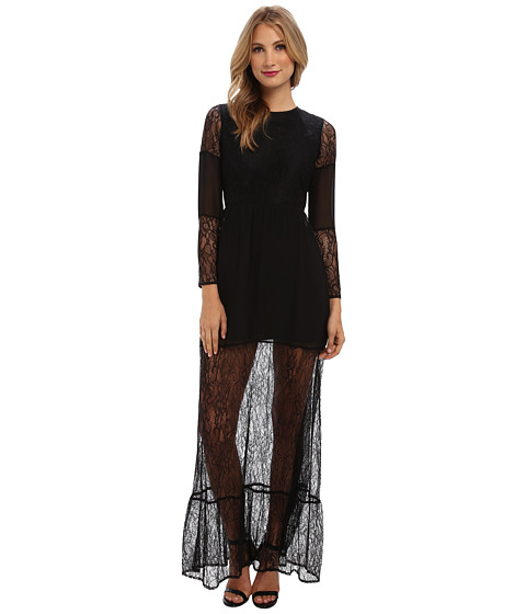 BCBGeneration - Long-Sleeve Round Maxi Cocktail Dress (Black) Women