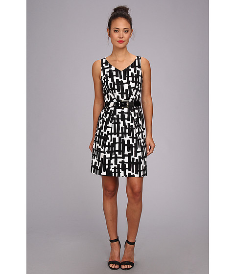 Tahari by ASL - Jeff-TY (Black/White) Women's Dress