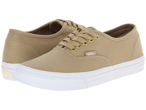 Vans - Authentic Slim ((Gold Pop) Twill/Khaki) Skate Shoes