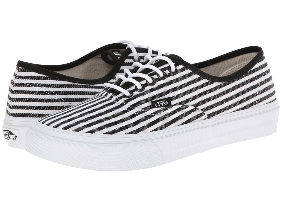 Vans - Authentic Slim ((Hickory Stripes) Black) Skate Shoes