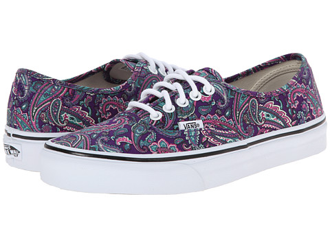 Vans - Authentic ((Paisley) Violet/True White) Skate Shoes