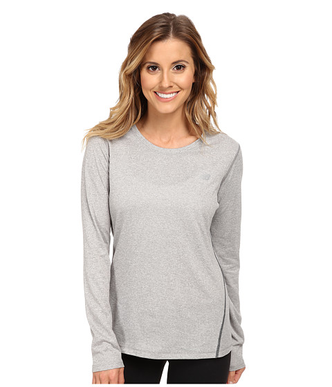 New Balance - Heathered L/S Top (Athletic Grey) Women's Workout