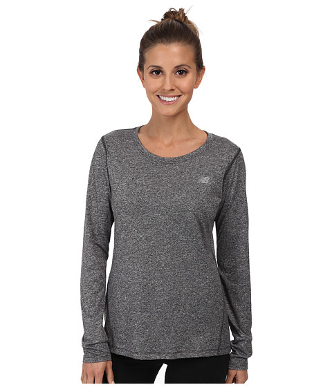 New Balance - Heathered L/S Top (Black) Women's Workout
