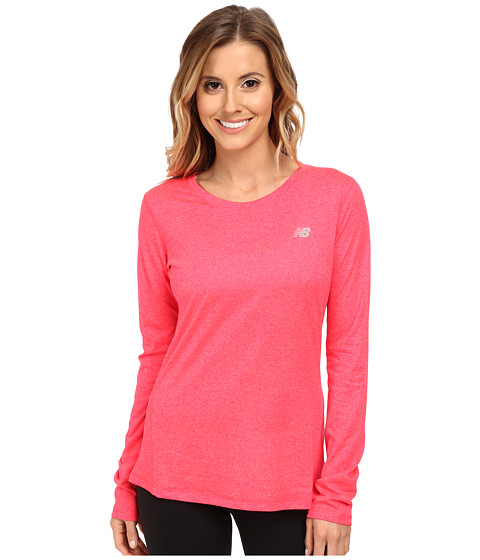 New Balance - Heathered L/S Top (Bright Cherry) Women's Workout