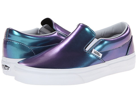 Vans - Classic Slip-On ((Patent Leather) Blue) Skate Shoes