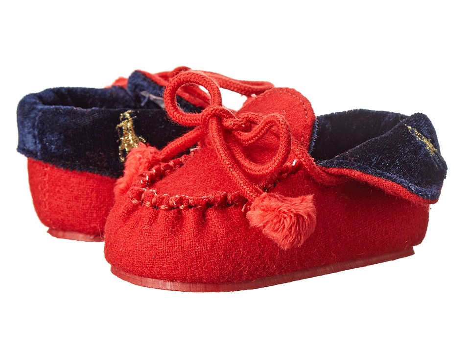 Ralph Lauren Layette Kids - Fold Down Moc Slipper (Infant/Toddler) (Red Wool) Kid's Shoes
