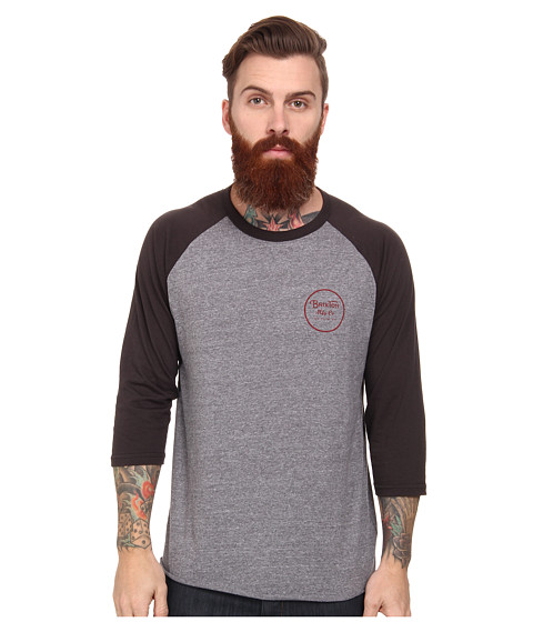 Brixton - Wheeler 3/4 Sleeve Tee (Heather Grey) Men