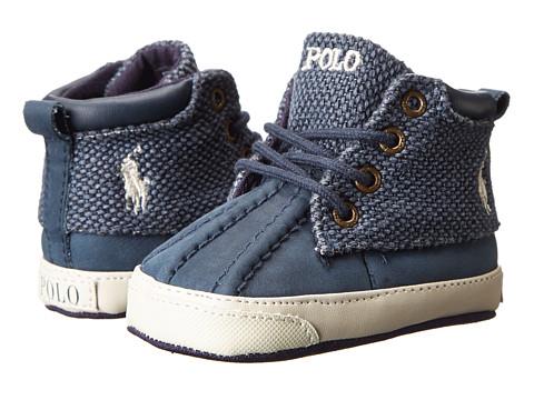 Ralph Lauren Layette Kids - Wallace (Infant/Toddler) (Navy Leather/Navy Ballistic Heavy Canvas) Boys Shoes