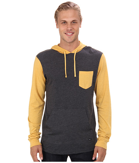 RVCA - Set Up Hood (Black Heather/Gold Rush) Men's Sweatshirt