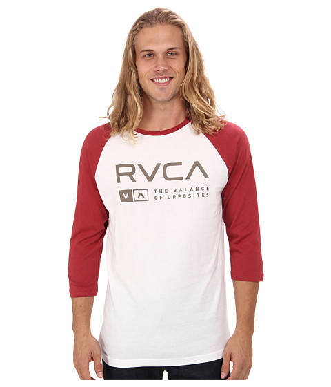 RVCA - Associate Raglan (Vintage White/Red) Men's Long Sleeve Pullover