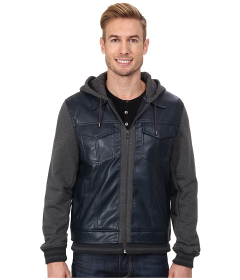 Kenneth Cole Reaction - Faux Leather and Jersey Baseball Jacket (Navy) Men