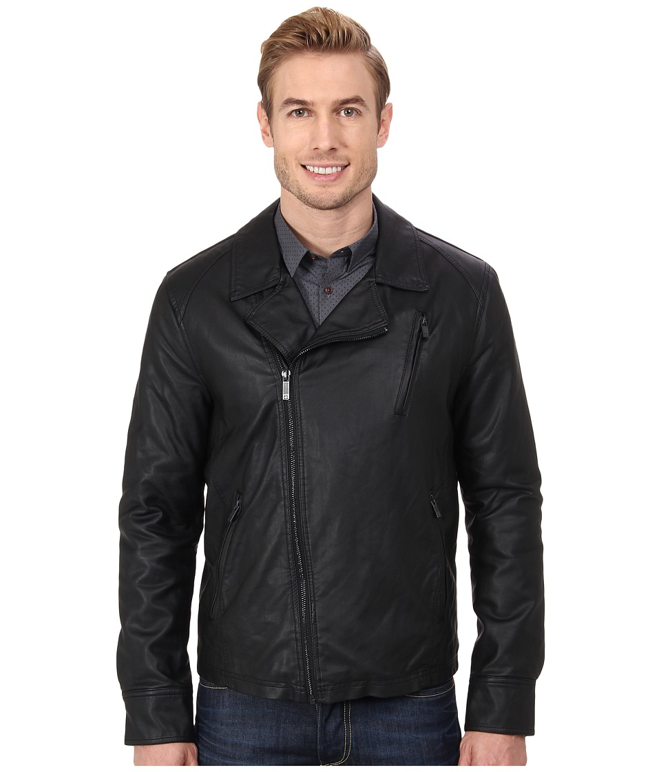 Kenneth Cole Reaction - Asymmetrical Zip Front Faux Leather Hipster (Black) Men's Coat