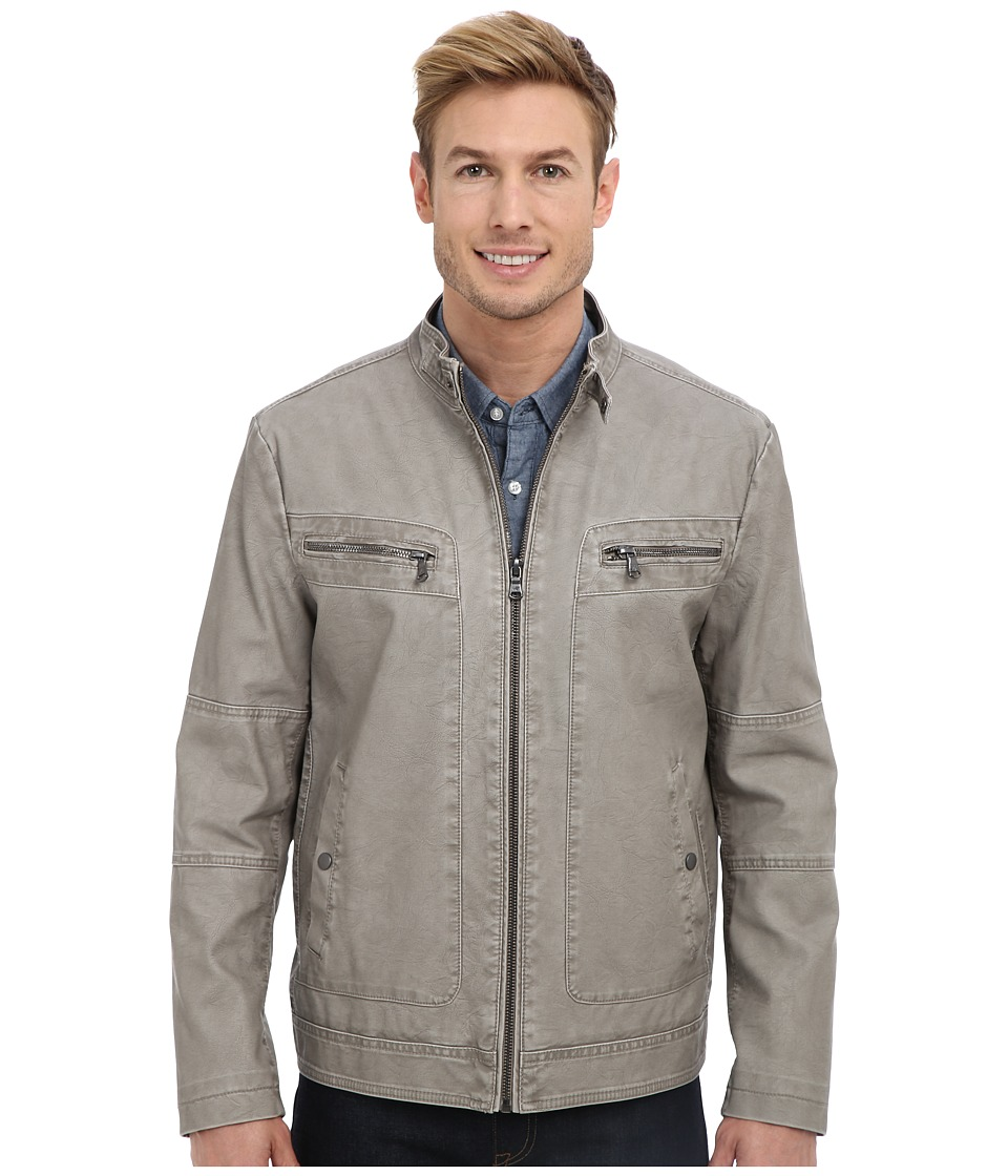 Kenneth Cole Reaction - Faux Leather Moto Jacket with Tab Closure Collar (Nickel) Men's Coat