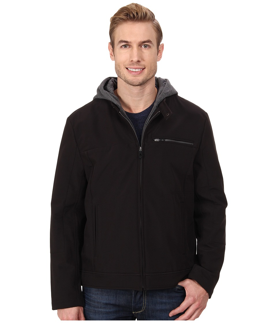 Kenneth Cole Reaction - Softshell Zip Front Jacket with Jersey Hood (Black) Men's Coat