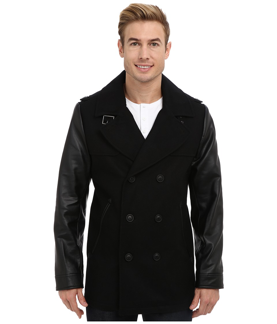 Elie Tahari - Wool Walker with Nylon Bib (Black) Men's Coat