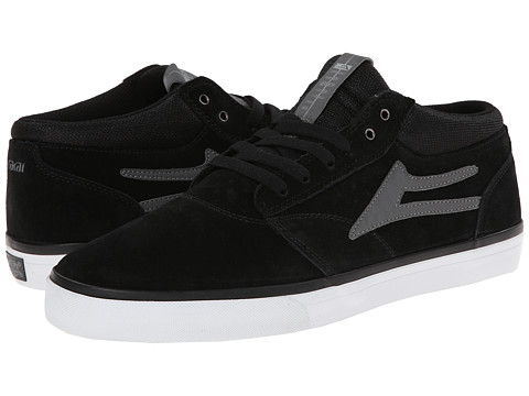 Lakai - Griffin Mid (Black/White Suede) Men
