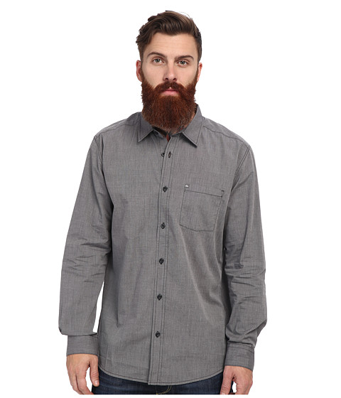 Quiksilver - Allman L/S Woven (Charcoal) Men's Long Sleeve Button Up