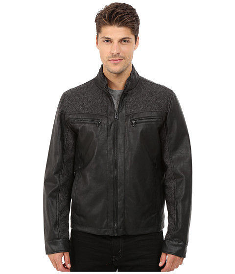 Kenneth Cole New York - Mixed Media Faux Leather and Quilted Nylon Bomber (Black) Men's Coat