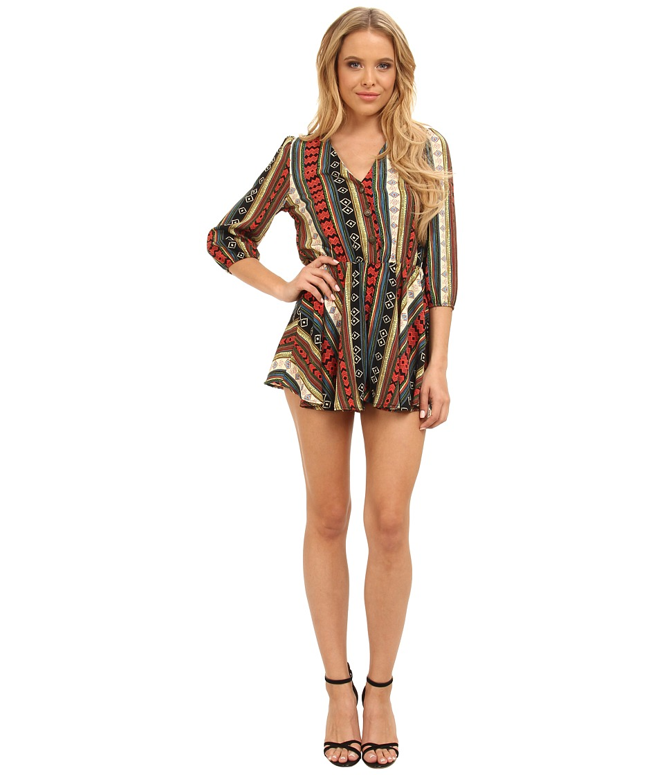 Brigitte Bailey - Tribal Romper with Flare Short (Red Multi) Women's Jumpsuit & Rompers One Piece