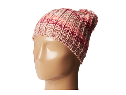 BCBGeneration - Cozy Stripe Hat with Pom (Dusty Rose) Caps