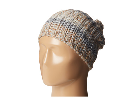 BCBGeneration - Cozy Stripe Hat with Pom (Latte) Caps