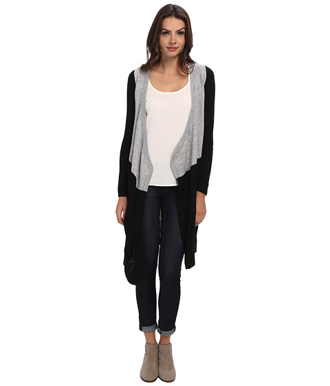 Christin Michaels - Colorblock Long Cardigan with Collar (Polka Dot) Women