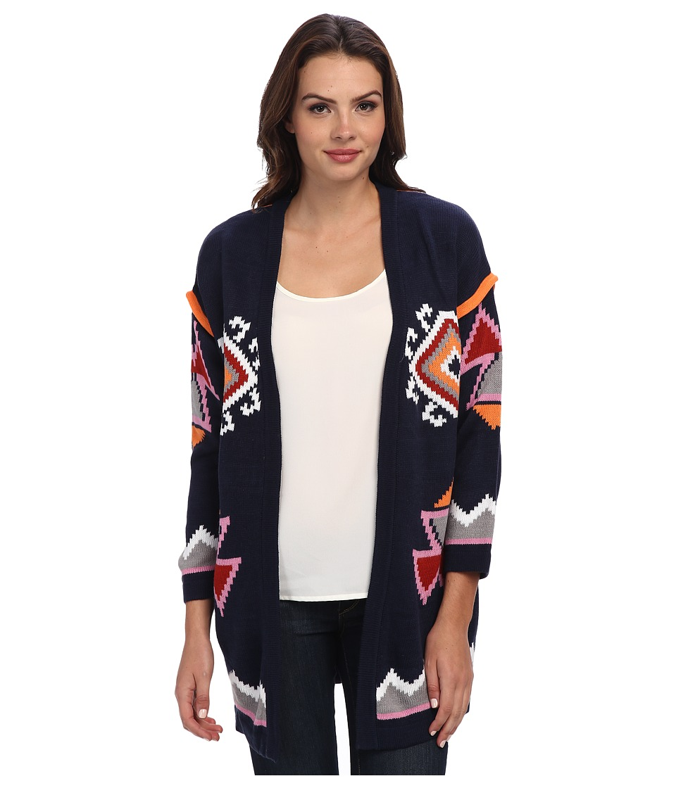 Brigitte Bailey - Love Triangle Cardigan (Navy Multi) Women's Sweater