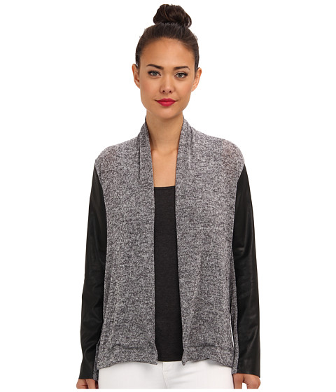 Brigitte Bailey - Emma Jacket with Faux Leather Sleeves (Grey) Women's Sweater