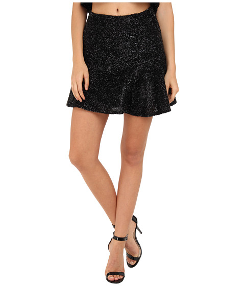 Brigitte Bailey - Fuzzy Sparkle Skirt (Black) Women